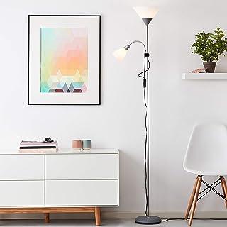 Lampadaire simple avec liseuse, hauteur 180 cm, E27/E14 max. 60 W/25 W, aluminium/plastique, argent/blanc