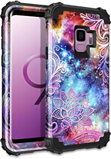 Casetego Compatible Galaxy S9 Case,Floral Three Layer Heavy Duty Hybrid Sturdy Armor Shockproof Full Body Protective Cover Case for Samsung Galaxy S9,Purple Mandala
