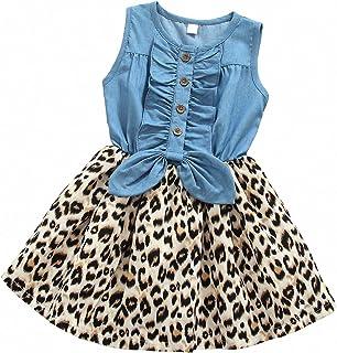 MingAo Little Girls Denim Floral Print Sleeveless Skirt Dresses & Long Sleeve, One-Piece