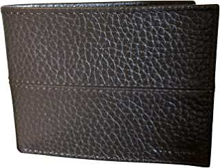 Cole Haan Pebbled Leather Men's Billfold Bifold Passcase Wallet Dark Brown