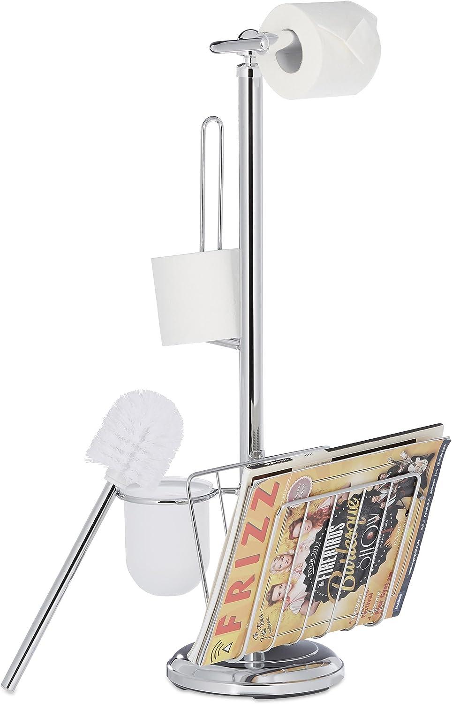 Relaxdays WC Garnitur, Toilettenpapierhalter, Toilettenbürste, Bürstenhalter, Magazinhalter, HBT 69 x 30 x 22 cm, silber B07CBBDCGZ