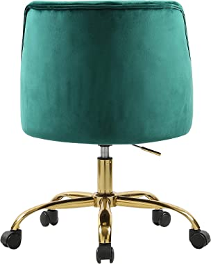 MOJAY Modern Home Office Chair, Velvet Swivel Armchair, Velvet Office Chair with Soft Seat, Adjustable Task Chair Computer De