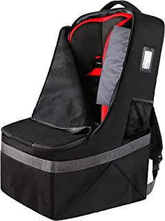 Car Seat Travel Bag,Durable Padded Large Backpack for Car Seats,Airport Gate Check Bag,Carseat Carrier Bag,Infant Seat Travel Bag with Padded Shoulder Strap,Travel Carseat Cover,Black