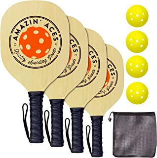 Pickleball Paddle Set By Amazin Aces | Pickleball Set Includes 2-4 Wood Pickleball