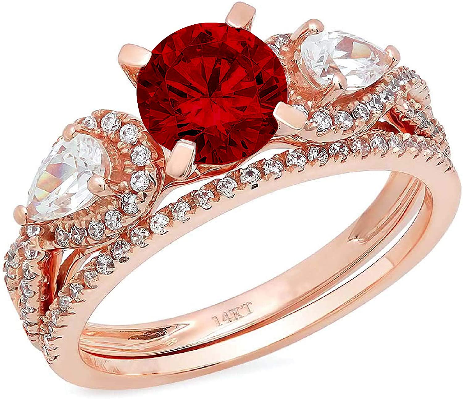 2.0ct Round Pear Cut Solitaire Limited time trial price security 3 Pomeg Natural Deep Accent stone