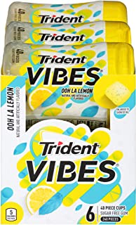 Trident Vibes Ooh La Lemon Sugar Free Chewing Gum - 6 Bottles (240 Pieces Total)