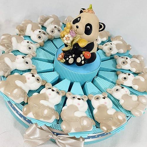 Torte Bomboniere Taufe Geburt mit Panda Blumen Versand inklusive Junge mädchen Torta da 28 fette