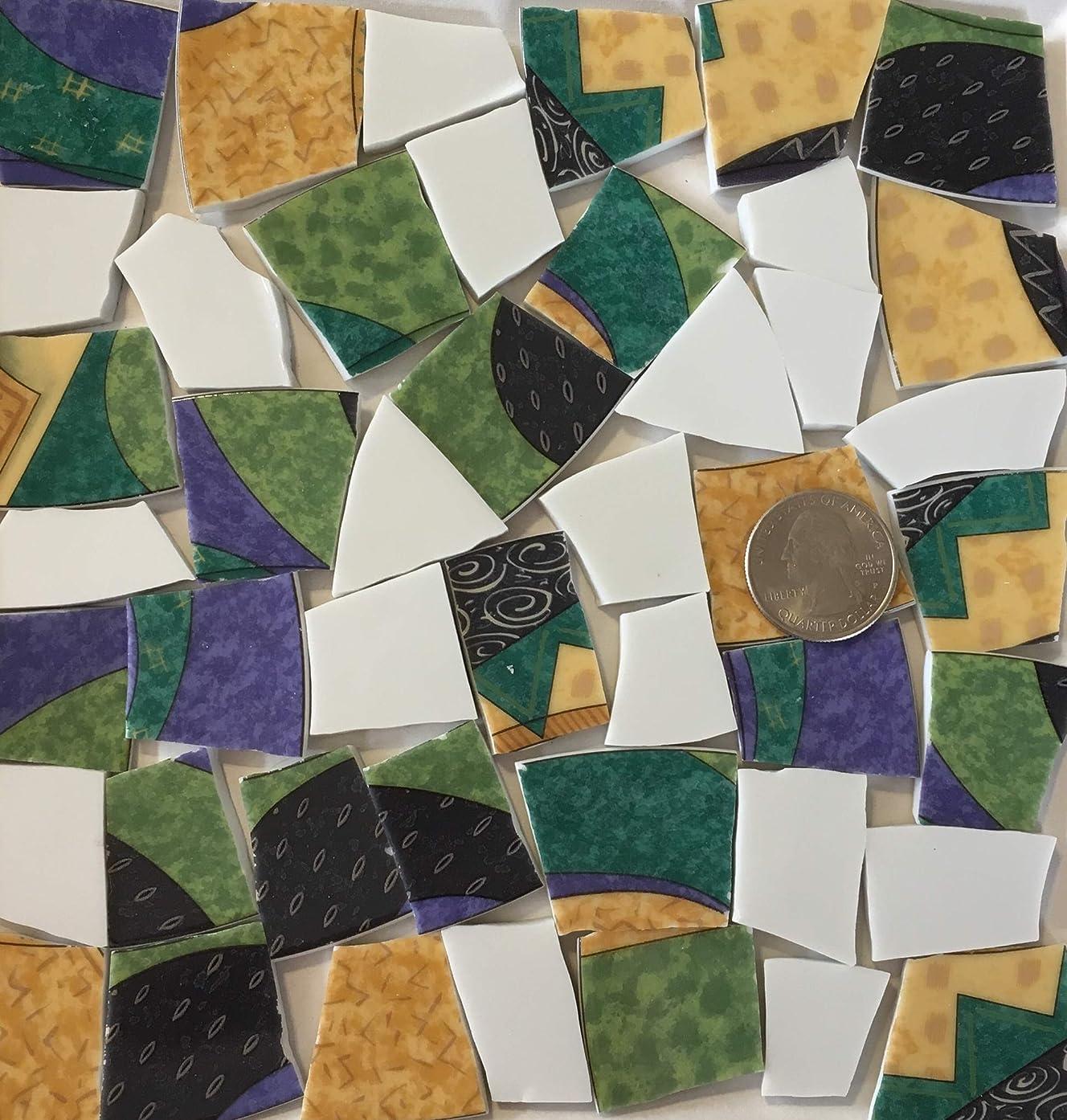 Mosaic Art & Crafts Supply ~ Modern Abstract Blue Black & Yellow Tiles w/White (B326)