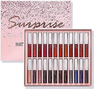24 Colors Matte Liquid Lipstick Set,Long Lasting Waterproof Lip Gloss Set,Pigmented Lip Makeup Velvet Lip Gloss Beauty Cos...
