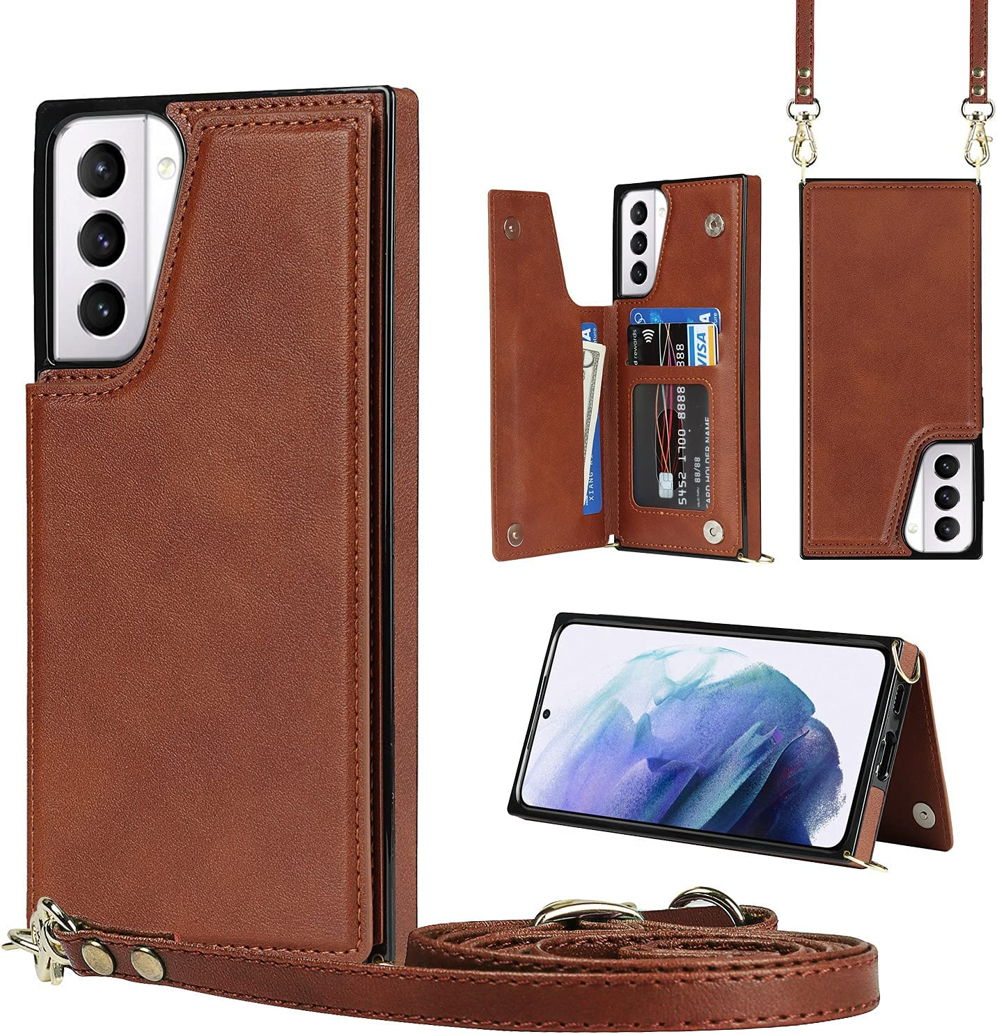 Crossbody Case for Samsung Galaxy S21 Ultra TPU Leather Shockproof Cover, Wonderful Wallet Function, Kick Stand RFID Blocking Material Lanyard Strap with Women Girl (Brown)