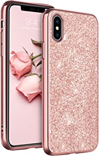 YINLAI Glitter iPhone Xs Case/iPhone X Case, Slim Sleek Shinny Sparkle Shockproof Soft TPU Anti-Scratch Full Body Protective Bling Girly Women Phone Cases Cover for iPhone Xs 2018/X 2017, Rose Gold