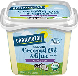 Carrington Farms USDA Organic Grass Fed Ghee and Coconut Oil Blend, Clarified Butter, Lactose Free, Casein Free, Gluten Free, Non Hydrogenated, 0g Trans Fat, BPA Free, 12 Ounce