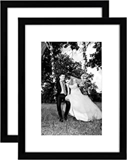 Americanflat 12x16 Picture Frame in Black - Displays 8x12 With Mat and 12x16 Without Mat - Composite Wood with Shatter Res...