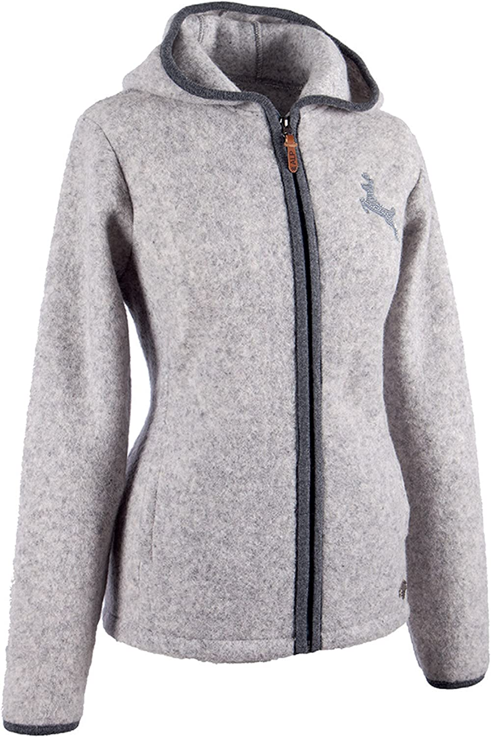 Alp by Brush Ladies New WashableWool Jacket with Hood and Embroidery and Strass