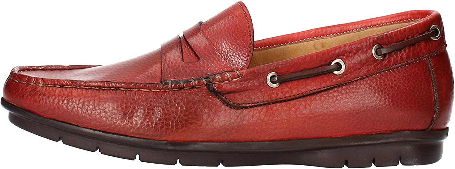 CALPIERRE Loafers-shoes Mens Leather Red