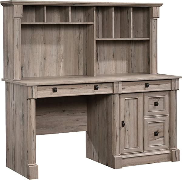 Sauder 424814 Palladia Computer Desk With Hutch Split Oak Finish