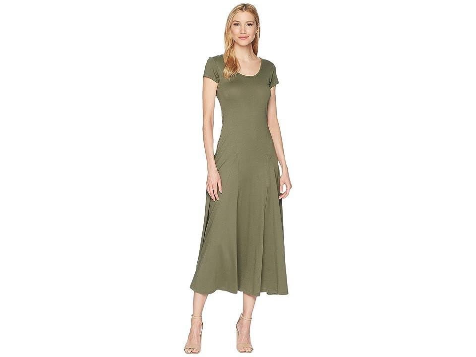 LAUREN Ralph Lauren Jersey Scoop Neck Maxi Dress (Sage Moss) Women