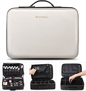 "BEGIN MAGIC Makeup Cosmetic Train Case Make Up Artist Organizer Bag Portable EVA Professional Make up Case 16.14"" Large (black/white)"