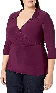 ستار فيكسن المرأة زائد الحجم 3/4 كم سوربليس فو لف الأعلى مع حزام ذاتي التضييق