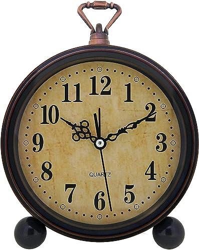 Konigswerk Vintage Alarm Clock , Analog Silent Small Bedside Desk Clock Battery Operated for Table Living Room Decor Shelf Gift Clock (Classic)