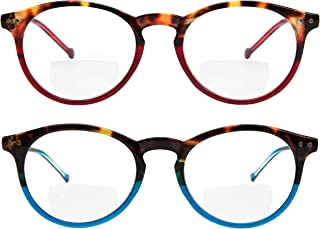 Yogo Vision Bifocal Reading Glasses 2 Pack Plastic Keyhole Spring Hinge Frames Bifocal Readers for Men and Women