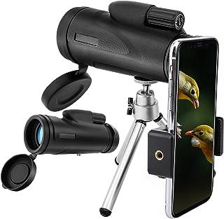 MoKo 12x50 Telescopios Monoculares Alta Potencia Prisma BAK4 HD Impermeable a Prueba de Niebla y de Choques con Soporte para iPhone XS/XS MAX/XR para Observación de Aves Senderismo Viajes Caza-Negro