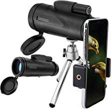MoKo 12x50 High-Powered Monocular Telescopes, BAK4 HD Prism Waterproof Fogproof Shockproof One Hand Focus with Smartphone Holder for Bird Watching Hiking Camping Travelling Hunting Concerts - Black