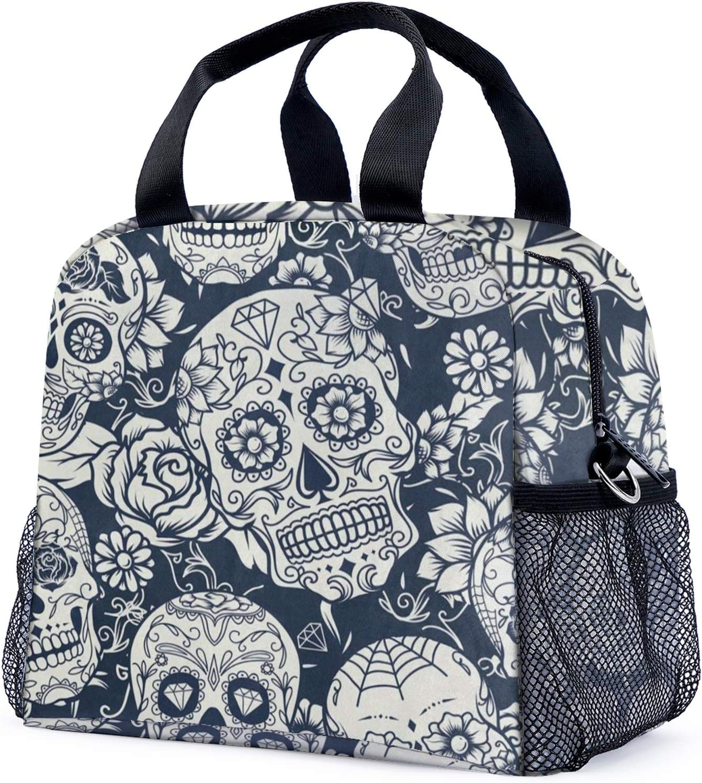 Lunch Bags For Women Men Day of The Dead Sugar Skull Unique Insu