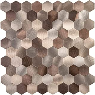 Decopus Metal Mosaic Tile Backsplash Peel and Stick (Hexagon Copper Brown 5pc/Pack) for Kitchen, Bathroom, Wall Accent, Table Tops (12''x12''x0.16''Thick) Self Adhesive Honeycomb Metal Mosaic Tile