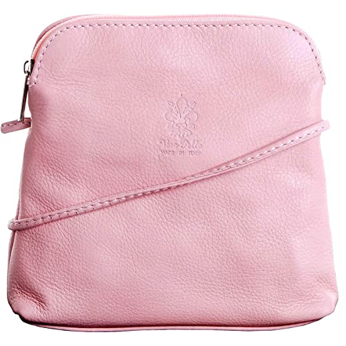 c063a52ad819b0 Real Italian Small Soft Leather Cross Body Shoulder Bag Handbag (Baby Pink)
