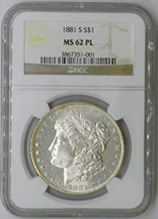 1881 S Morgan $1 MS62 PL NGC Silver Dollar Old US Coin 90% Silver