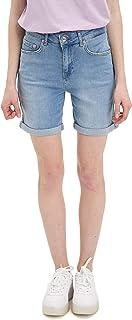 DeFacto Roll-up Hem High-Waist Denim Shorts for Women - Light Blue, 36