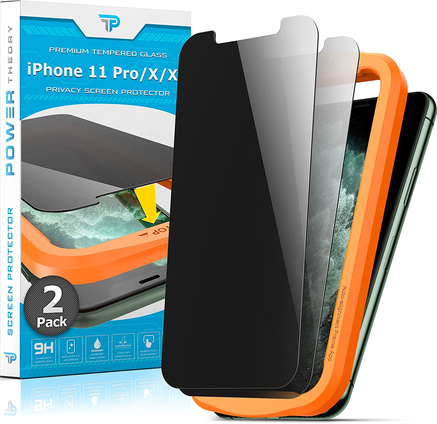 Power Theory Privacy Screen Protector for iPhone 11 Pro/iPhone XS/iPhone X Tempered Glass [2-Pack] Anti-Spy protection with Easy Install Kit [Case Friendly][5.8 Inch]