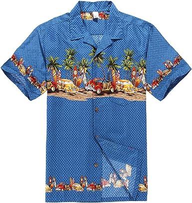 Hombres Aloha camisa hawaiana en Coches antiguos Palmeras Tablas de surf en Azul
