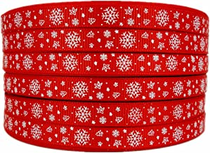 Christmas Ribbon Snowflake Tree Star Polka Dots Printed 50 Yards Xmas Red 3/8 Inch Grosgrain Ribbon Package Gift Wrapping