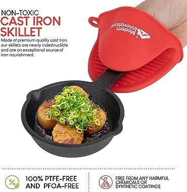 Modern Innovations Mini Cast Iron Skillet with Silicone Mitt (4 Count) - 3.5 Inch Mini Cast Iron Skillet - Pre Seasoned Small