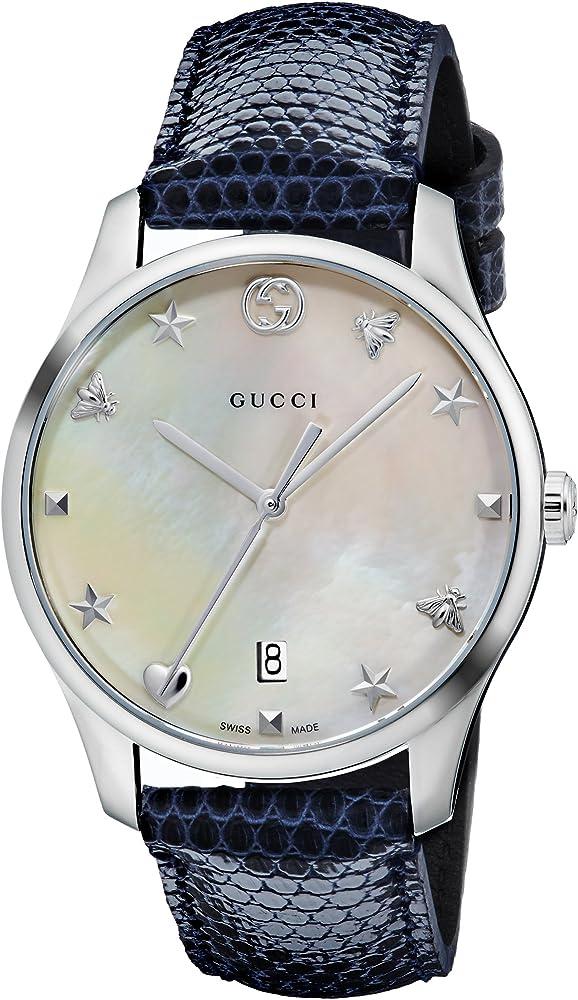 Gucci, orologio da donna, cinturino in pelle blu (lucertola), quadrante in madreperla, cassa in acciaio YA1264049