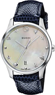 G-Timeless Mother of Pearl Dial Leather Strap Ladies Watch YA1264049