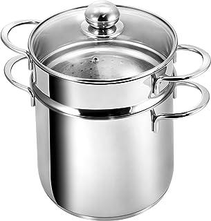 Kopf 122494 Olla para hervir Pasta Makkaroni, Ø 20 cm, Acero Inoxidable + cesto de cocción para Espaguetis/Verduras