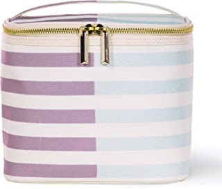 Insulated Soft Cooler Lunch Tote with Double Zipper Close and Carrying Handle, Two-Tone Stripe