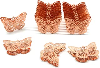 CVHOMEDECO. Rose Gold Metal Butterfly Decorations Hanging Decorative Butterflies Accessories for Home Bedroom Wedding Part...
