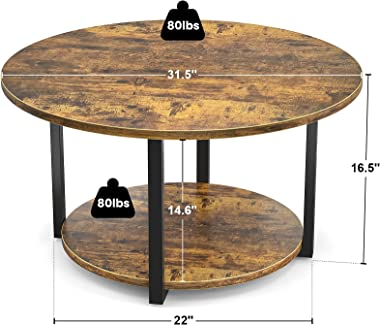 Armocity Round Coffee Table Industrial Coffee Table Living Room Table Wood Circle Coffee Table with Storage 2-Tier Central Ta