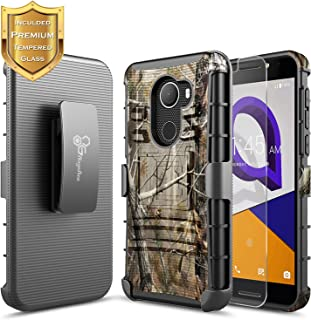 NageBee T-Mobile REVVL Case with [Tempered Glass Screen Protector], Alcatel A30 Fierce (MetroPCS) /A30 Plus 5.5'' /Walters, [Heavy Duty][Belt Clip Holster Kickstand] Combo Case -Camo