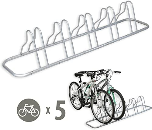 high quality SimpleHouseware 5 Bike online Bicycle Floor Parking Adjustable high quality Storage Stand, Silver online sale