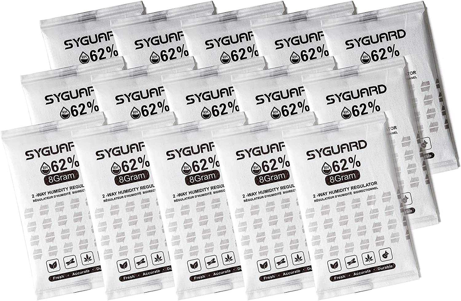 SyGuard 62% RH - 2 Way Humidity Regulator   For Packaging and Storing Moisture Sensitive Products   8 Gram   15-Count   with Resealable Bag (15)