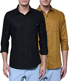 jugend Black and Brown Cotton Full Sleeves Slim fit Solid Casual Combo Shirts for Men