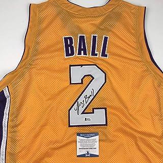 da2e430fa3c4 Autographed Signed Lonzo Ball Los Angeles LA Yellow Basketball Jersey  Beckett BAS COA