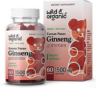 Wild & Organic Korean Panax Red Ginseng Gummies - Herbal Supplement for Focus, Memory & Brain Function - Natural Mood, Ene...