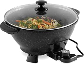 VonShef 7.4Qt Electric Wok with Lid – Adjustable Temperature Control – Cool Touch..