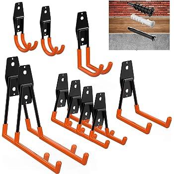 Bikes Bulk Items Ropes etc Ladders Red Garage Hooks Heavy Duty,12-Pack Utility Steel Garage Storage Hooks,Wall Mount Garage Hanger /& Organizer for Organizing Power Tools